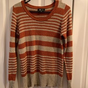 Grey and burnt orange striped light sweater